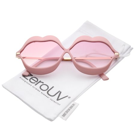 Gradiant Lens - zeroUV - Oversize Lip Shape Frame Metal Temples Gradient Lens Novelty Sunglasses 63mm - 63mm