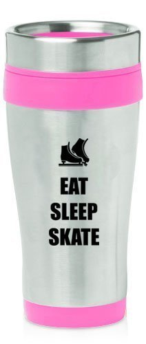 Hot Pink 16oz Insulated Stainless Steel Travel Mug Z1838 Eat Sleep Skate Ice Skates,MIP by
