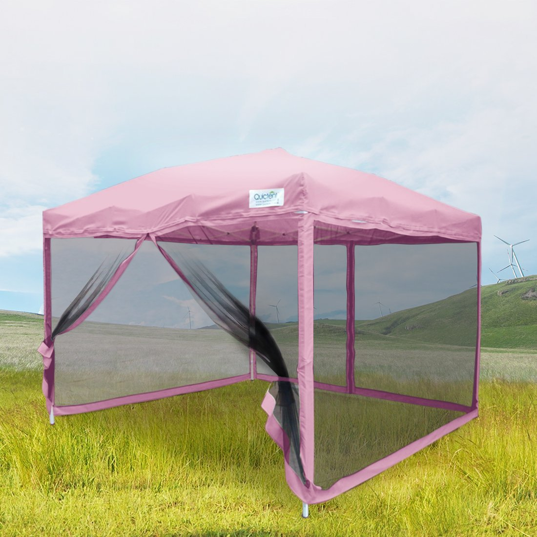 Quictent 8x8 Ez Pink Pop up Party Tent Canopy Gazebo Mesh Side Wall With Carry BAG & Quictent 8x8 Ez Pink Pop up Party Tent Canopy Gazebo Mesh Side ...
