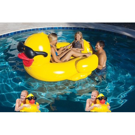 Giant Inflatable Riding Derby Duck Pool Float With 2 Baby Ducks