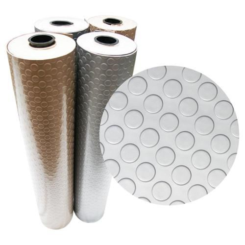 "Rubber-Cal ""Coin-Grip (Metallic)"" PVC Flooring - 2.5mm x 4ft. Wide - Beige or Silver - Available in 10 Lengths 0.0984"" x 48"" x 60""; Silver"