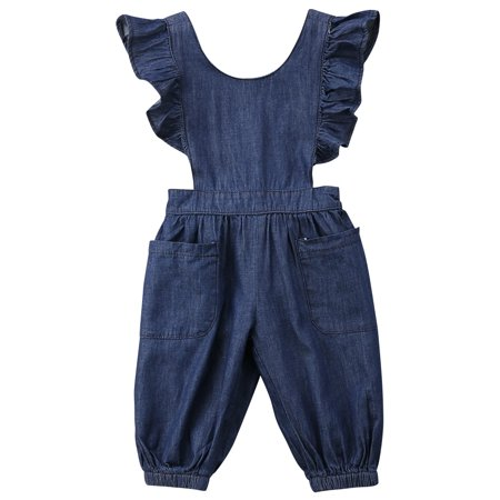 Kids Toddler Baby Girl Ruffle Backless Denim Romper Jumpsuit with Pockets (Denim Girls Overalls)