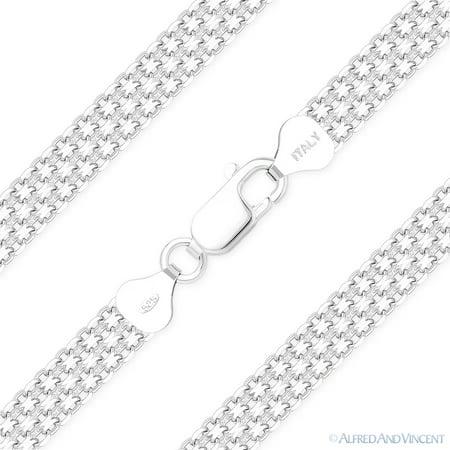 6.9mm Multi-Line Bismark Link Italian Chain Necklace in Solid .925 Sterling Silver (Bismark Link)
