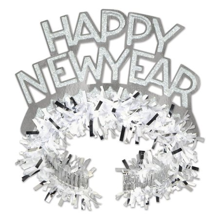 Club Pack Of 50 White And Silver Regal   Happy New Years   Legacy Party Favor Tiaras