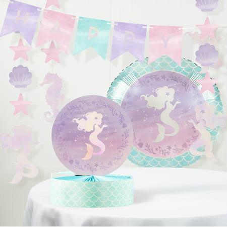Mermaid Birthday Supplies (Iridescent Mermaid Party Birthday Decorations)
