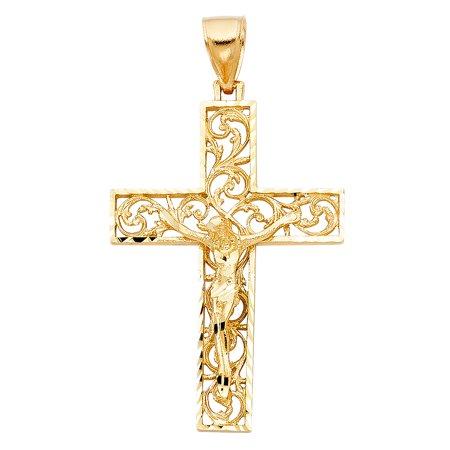 FB Jewels 14K Yellow Gold Fancy Christian Crucifix Cross Pendant 51mm X - Stone Bezel Yellow Cross