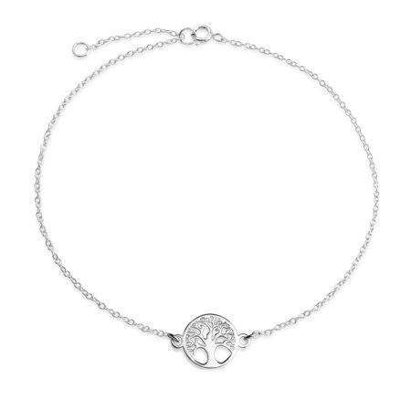 Round Celtic Family Tree of Life Anklet Ankle Bracelet 925 Sterling Silver Adjustable 9 to 10 Inch with (Sterling Silver Ankle Anklet Bracelet)