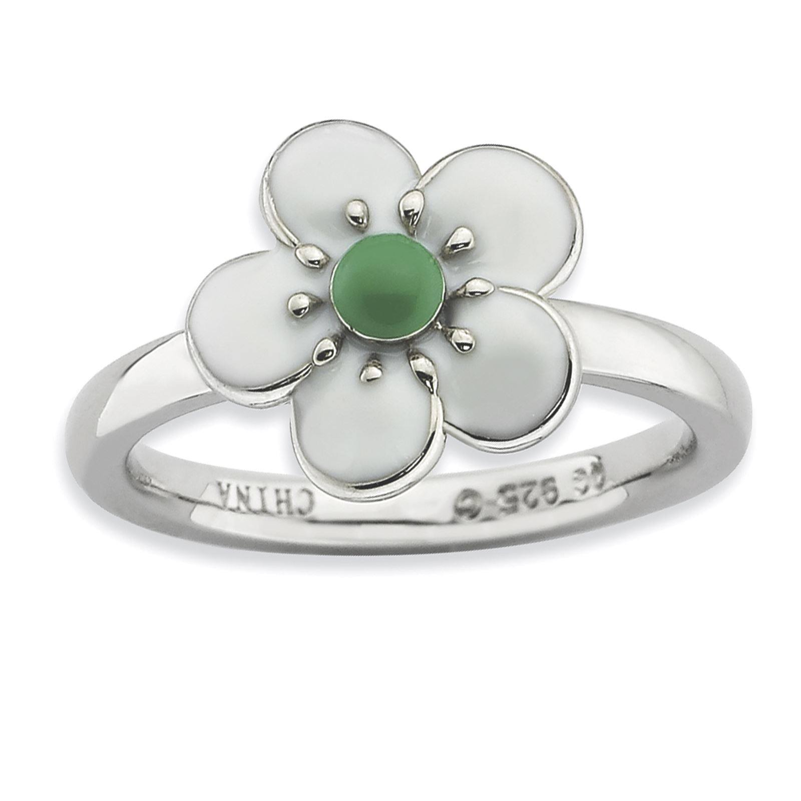 Sterling Silver Rhodium-Plated Polished Hawthorn Enamel Stackable Ring Size 9