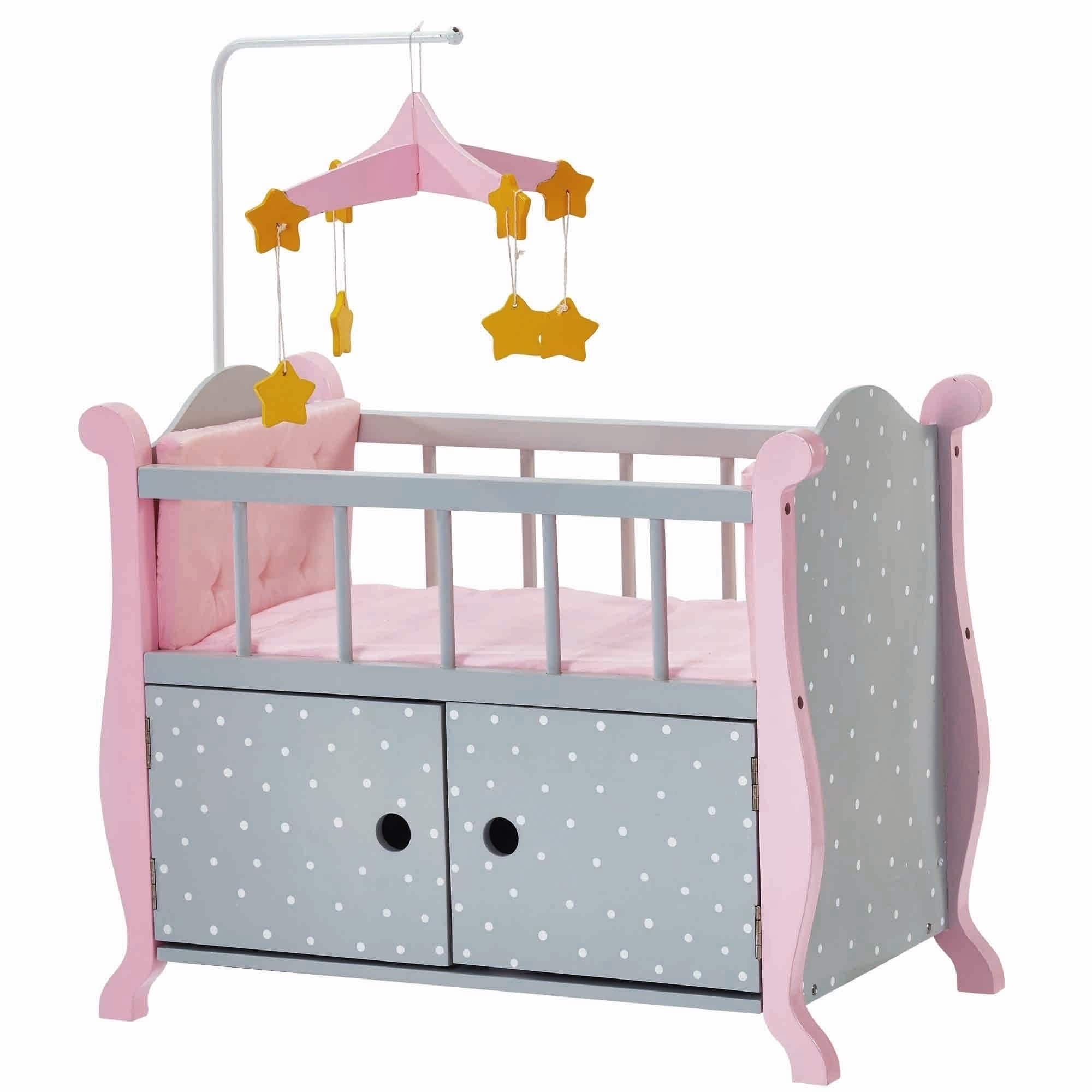 Olivia's Little World Baby Doll Furniture Nursery Crib Bed with Storage, Gray Polka Dots by Teamson