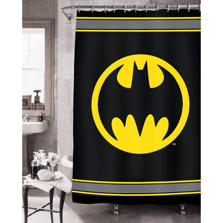 Click here to buy Batman Logo Fabric Shower Curtain by Franco Manufacturing.