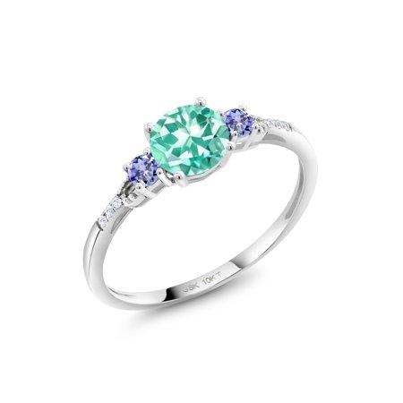 Apatite Diamond Ring (1.01 Ct Round Blue Apatite Blue Tanzanite 10K White Gold Lab Grown Diamond)