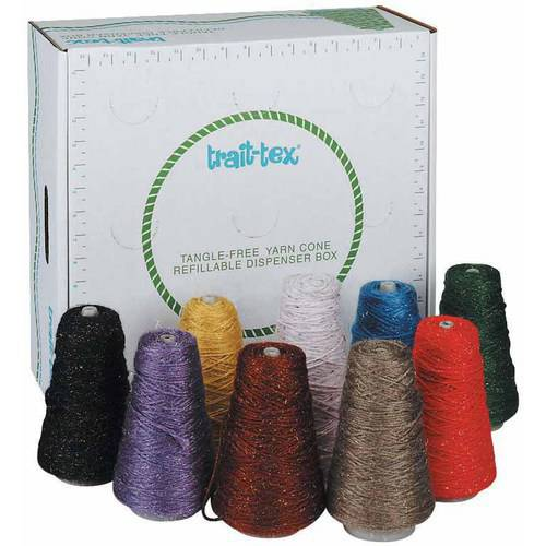 Trait Tex 4-Ply Double-Weight Glitter Yarn Cones, Refillable Dispenser Box, 8 Ounce Cones, 2835 Yards  Assorted Colors, Pack of 9