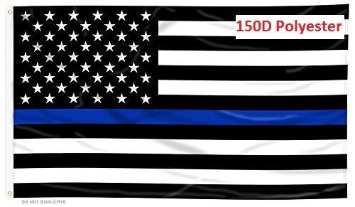G128 Thin Blue Line U.S. Printed Flag 3X5 FT Honoring Men and Women of Law Enforcement Brass Grommets 150D Polyester... by G128