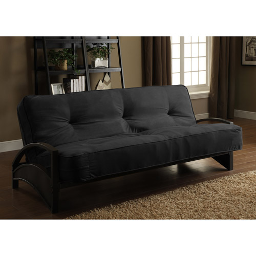 Alessa Futon Frame with 8; Full Pocket Coil Futon Mattress, Black