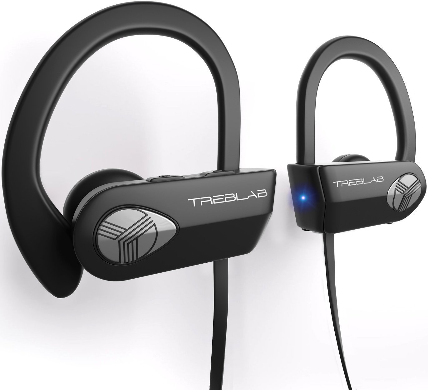 TREBLAB XR500 Bluetooth Headphones, Wireless Earbuds for Sports, Running or Gym Workout. 2017 Updated Version. IPX7 Waterproof, Sweatproof, Secure-Fit Headset. Noise Cancelling Earphones w/ Mic