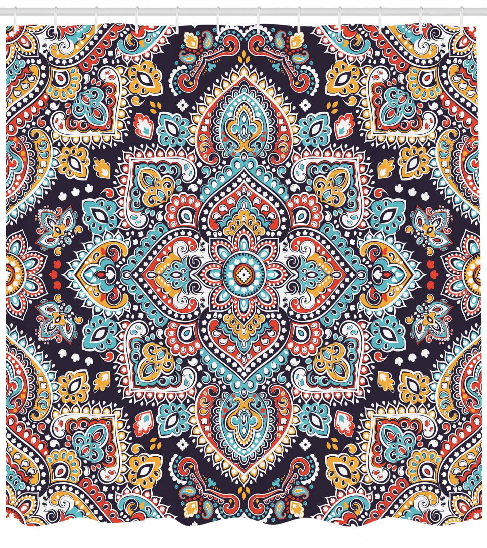 "Bohemian Shower Curtain Checkered Indian Folk Print for Bathroom 84/"" Extralong"