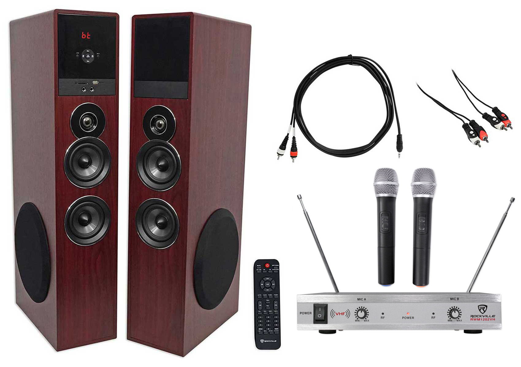 Rockville Bluetooth Home Theater Karaoke Machine System w (2) Subs+Wireless Mics by ROCKVILLE