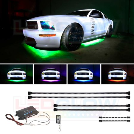 Ledglow 4pc Million Color Wireless Led Underbody Lighting Kit 2pc Interior Light