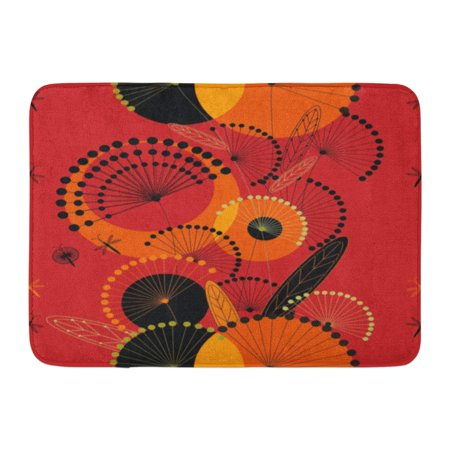 GODPOK Purple Colorful Beautiful Dandelions Flowers in Red Orange Yellow and Black with Leaves on Pink Beauty Rug Doormat Bath Mat 23.6x15.7 inch - Black And Orange