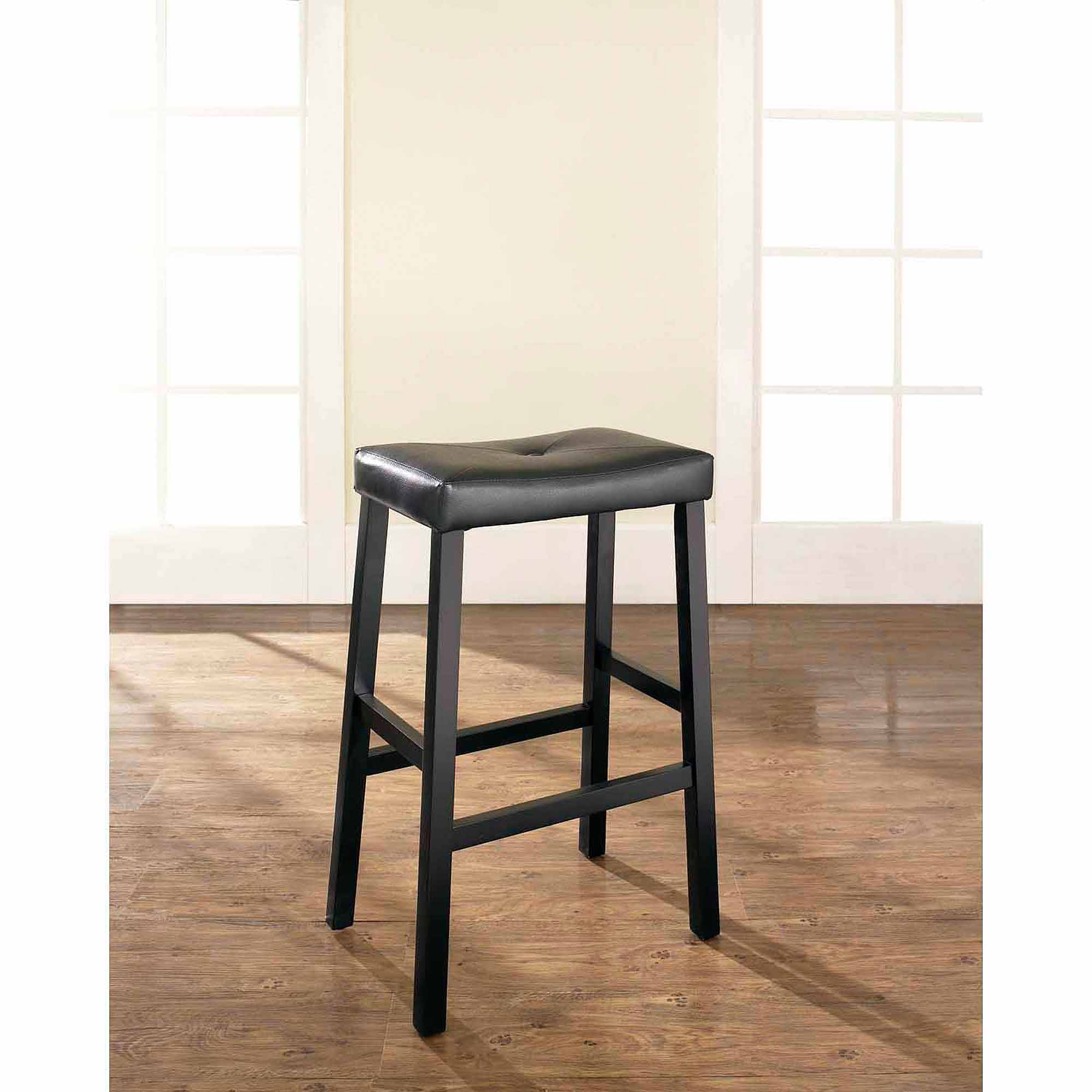 """Crosley Furniture Upholstered Saddle Seat Bar Stool with 29"""" Seat Height, 2pk"""