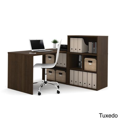 i3 by Bestar L-shaped Desk with Small Hutch Tuxedo