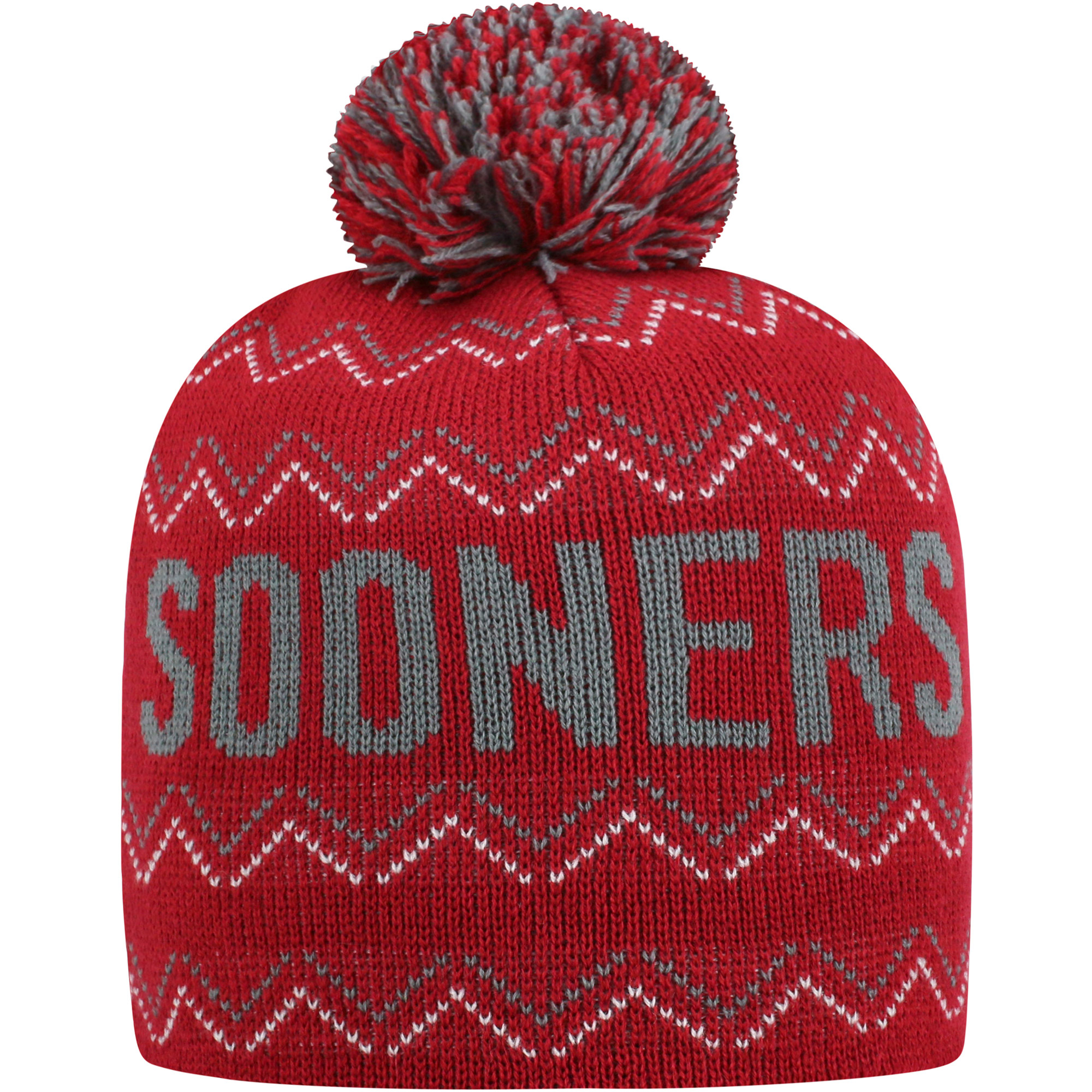 Youth Russell Crimson Oklahoma Sooners Rimy Knit Beanie With Pom - OSFA