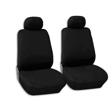 Classic Black Cloth Polyester Front Bucket Seat Covers Pair Low Back For Honda Civic
