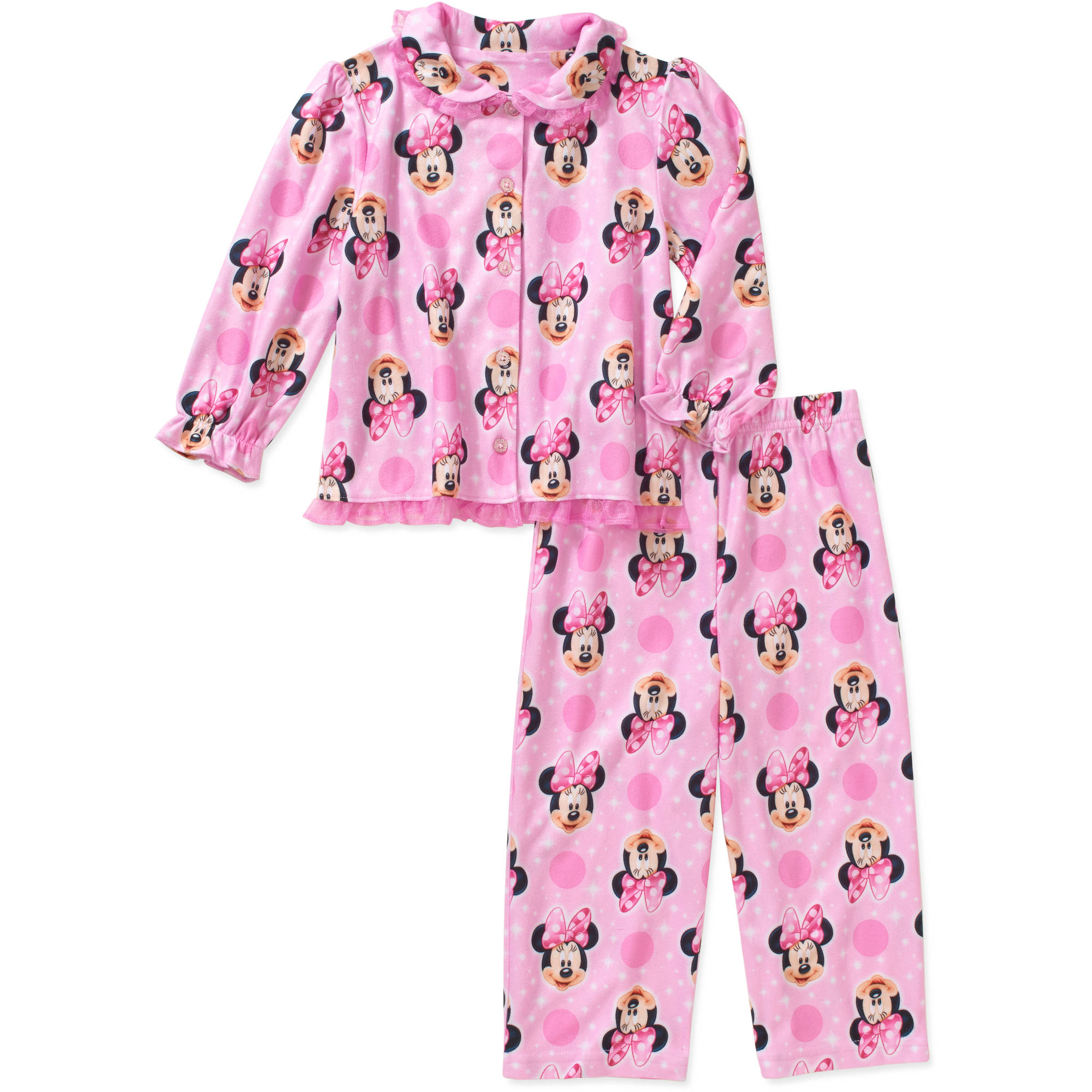 Minnie Mouse Toddler Girl Button Down Pajama Set