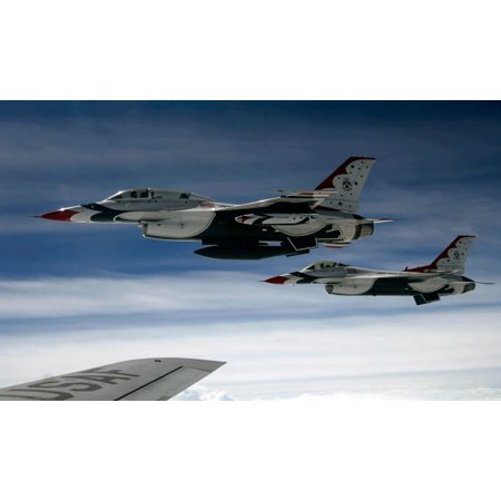 US Air Force F-16 aircraft fly off the wing of a KC-135 Stratotanker Poster Print by Stocktrek Images Air Force Kc 135