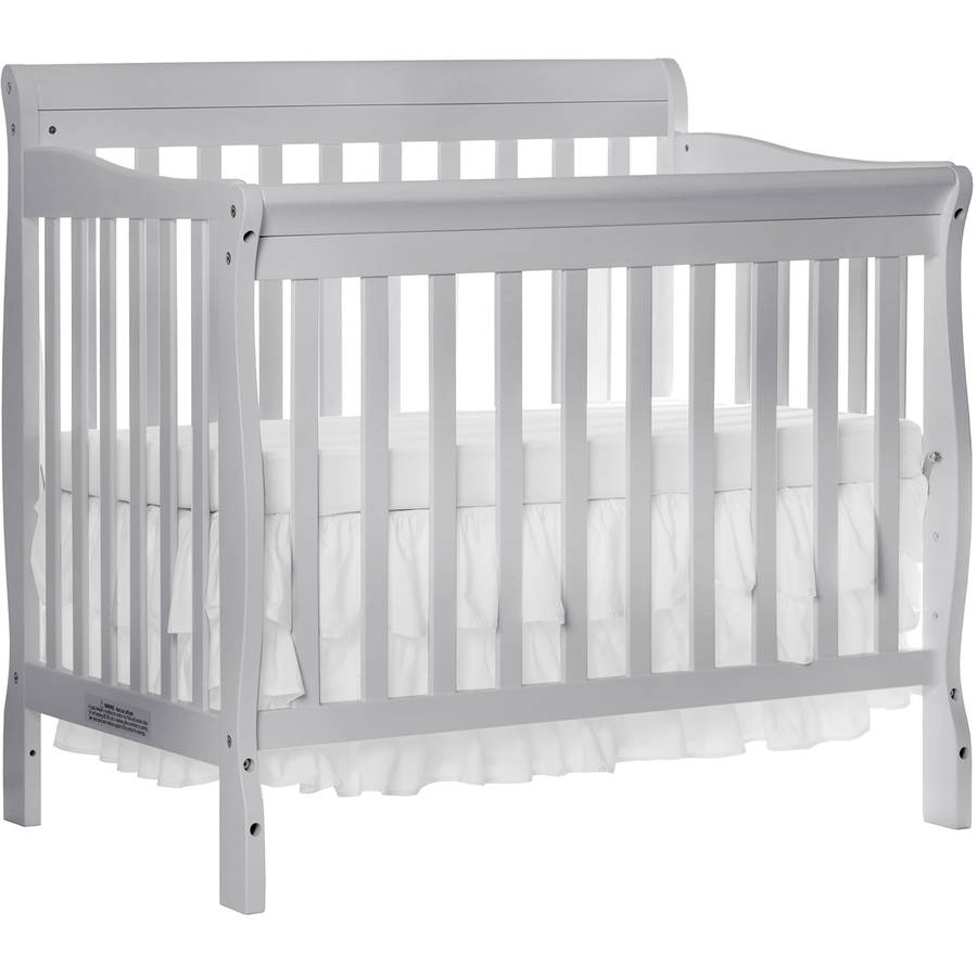 Dream On Me Aden 4-in-1 Convertible Mini Crib Mystic Gray