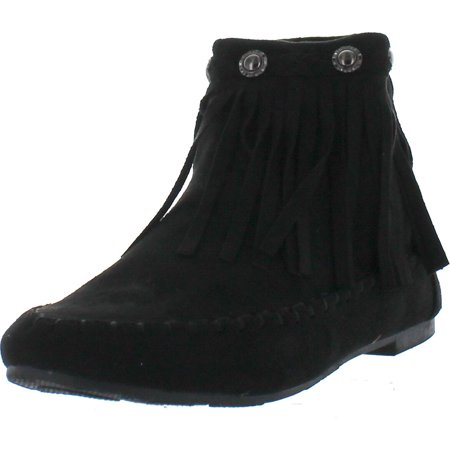 Flap Bootie - BOLARO BC5040 Women's Comfort Fringe Layer Back Zipper Flat Ankle Booties