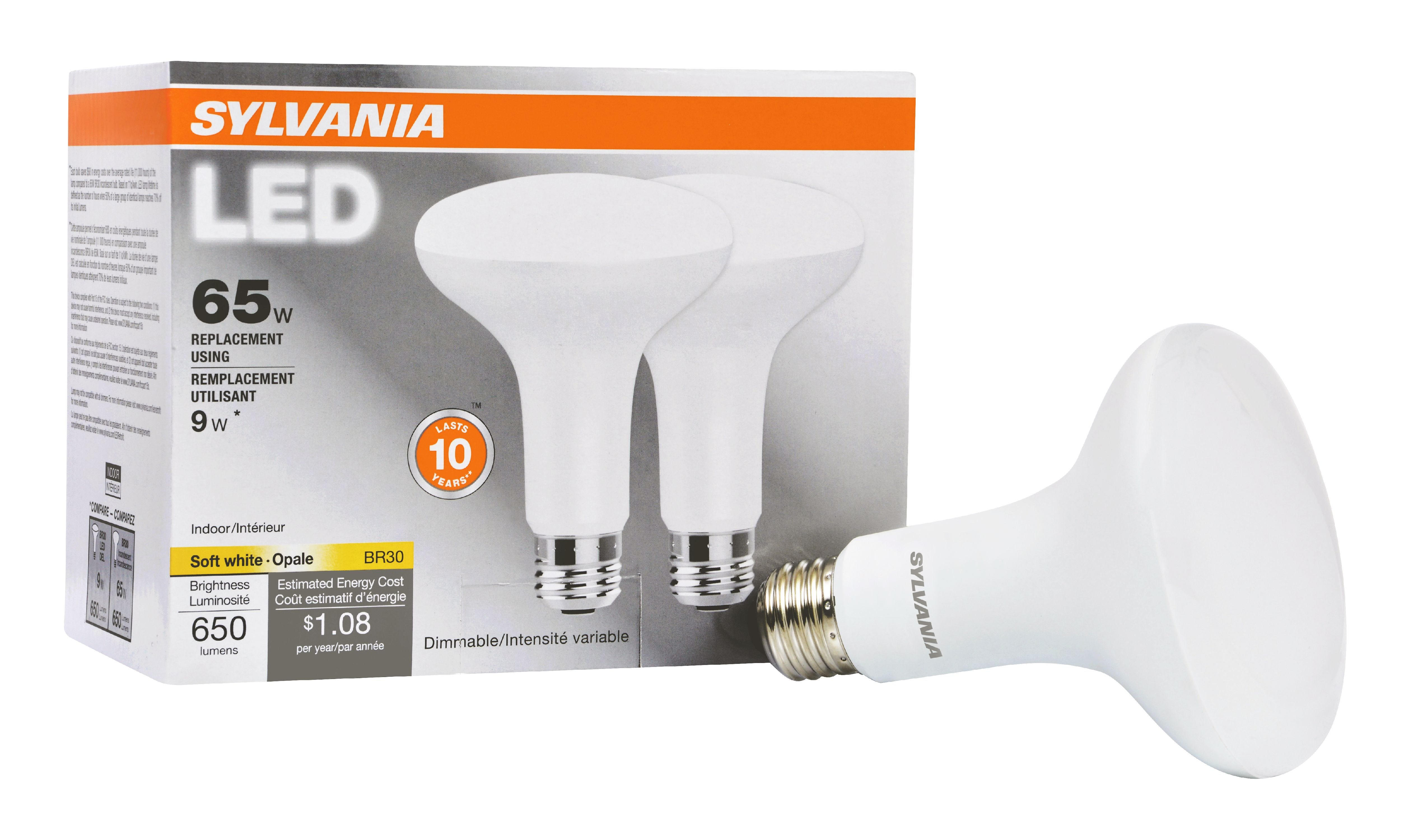 Sylvania BR30 LED Light Bulbs 9W 65W Equivalent Dimmable Soft White 2 Count
