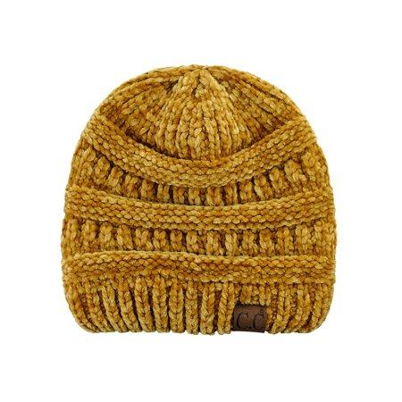 87dd412638d NYFASHION101 - C.C Women s Chenille Soft Warm Thick Knit Beanie Cap Hat-Mustard  - Walmart.com