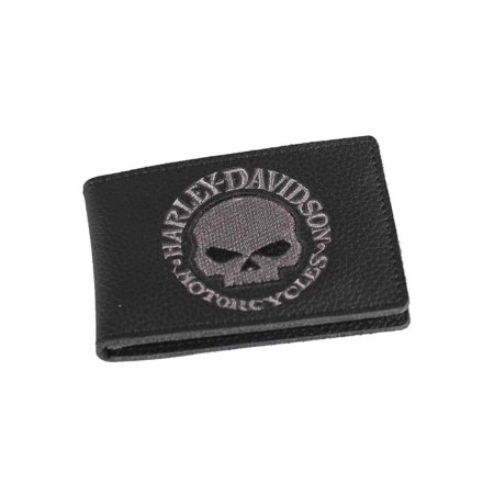 Men's Embroidered Willie G Skull Duo-Fold Wallet, XML6136-GRYBLK, Harley (Ledger Wallet Nano Duo Edition Bitcoin Wallet)