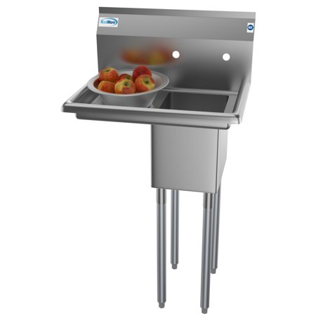 """1 compartment 25"""" stainless steel commercial kitchen prep"""