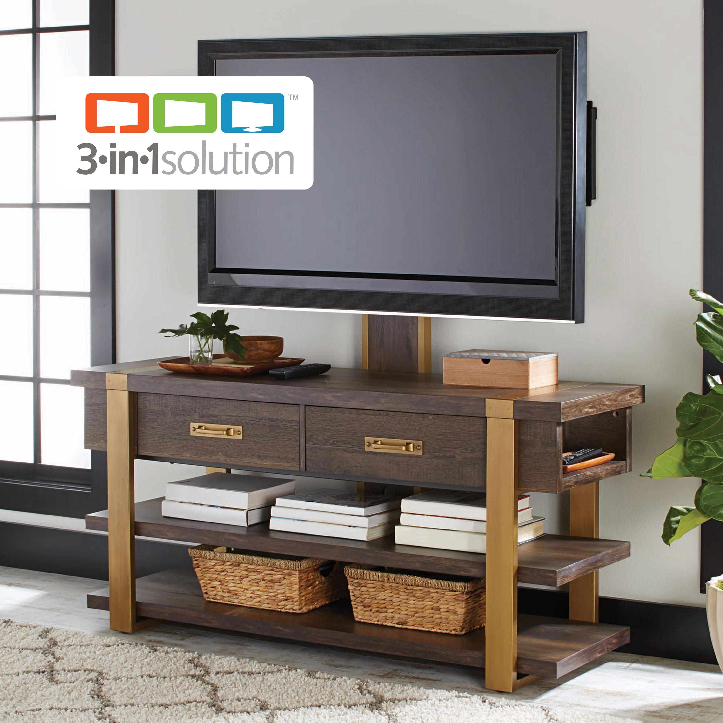Better Homes & Gardens Lana Modern 3-in-1 TV Stand, For TVs up to 70in, Toasted Brown Ash Finish
