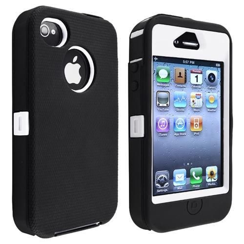 Insten Hybrid Case For Apple iPhone 4/ 4S, White Hard/ Black Skin