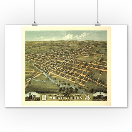 Mount Vernon, Ohio - Panoramic Map (9x12 Art Print, Wall Decor Travel Poster)