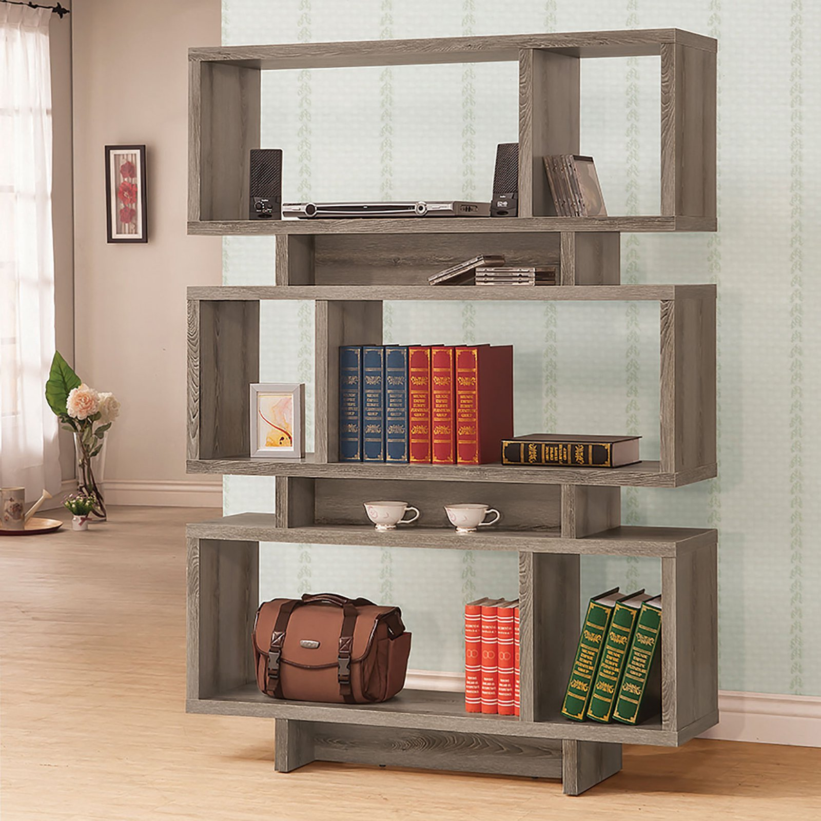 Backless Bookshelves Weathered Grey Backless Bookcase - Walmart.com