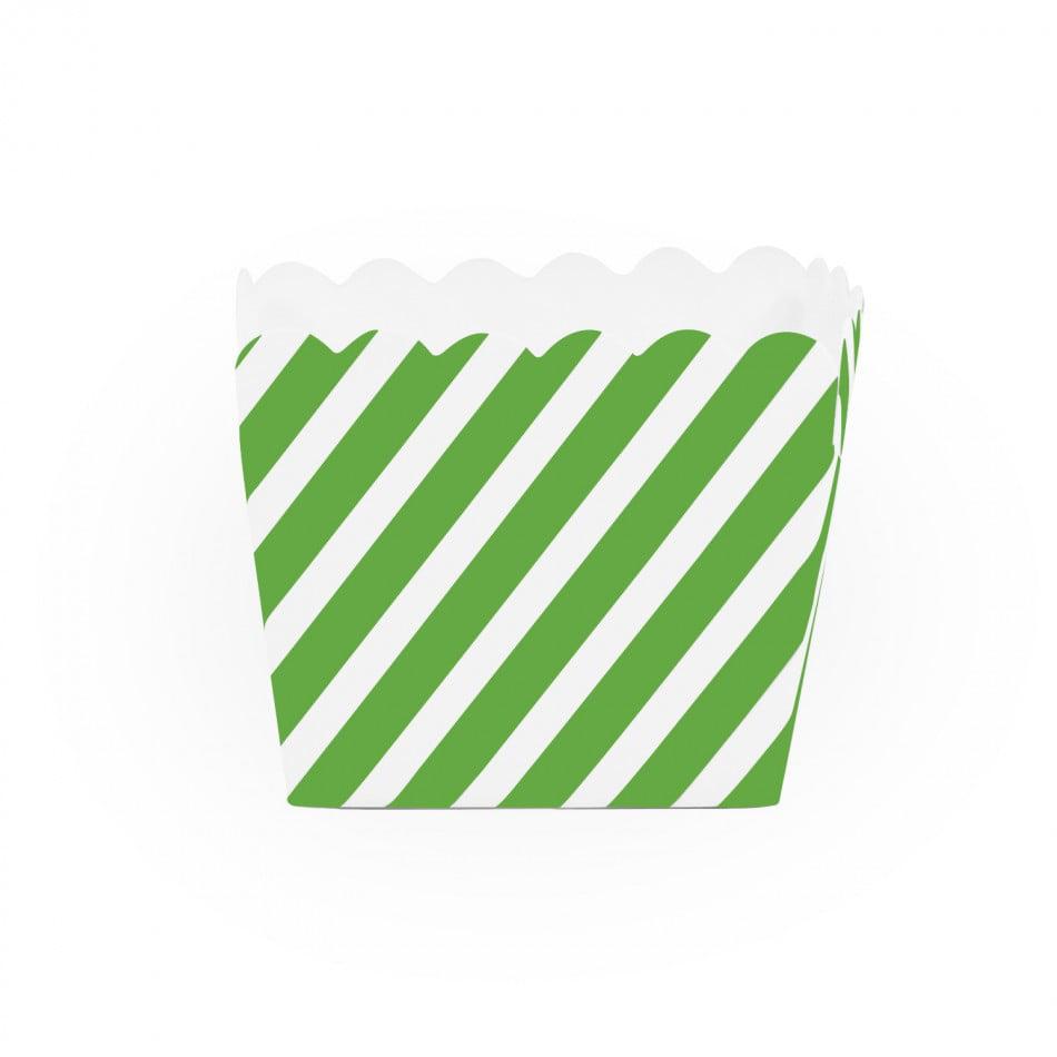 Dress My Cupcake Striped Square Loaf Pan Favor Box (Set of 12), Kiwi Green