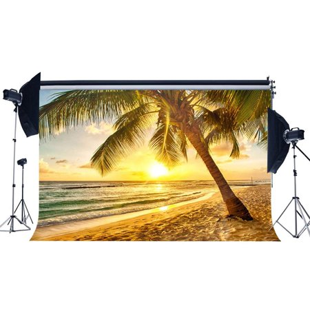 ABPHOTO Polyester 7x5ft Sand Beach Backdrop Seaside Coconut Tree Sunrise Nature Summer Holiday Journey Ocean Sailing Romantic Wallpaper Photography Background Girls Lover Wedding Photo Studio Props
