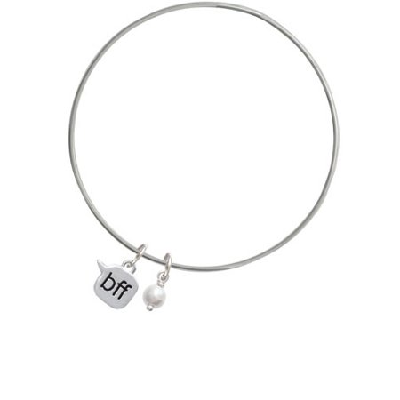 Text Chat - bff - Best Friends Forever - Imitation Pearl Bicone Bangle Bracelet