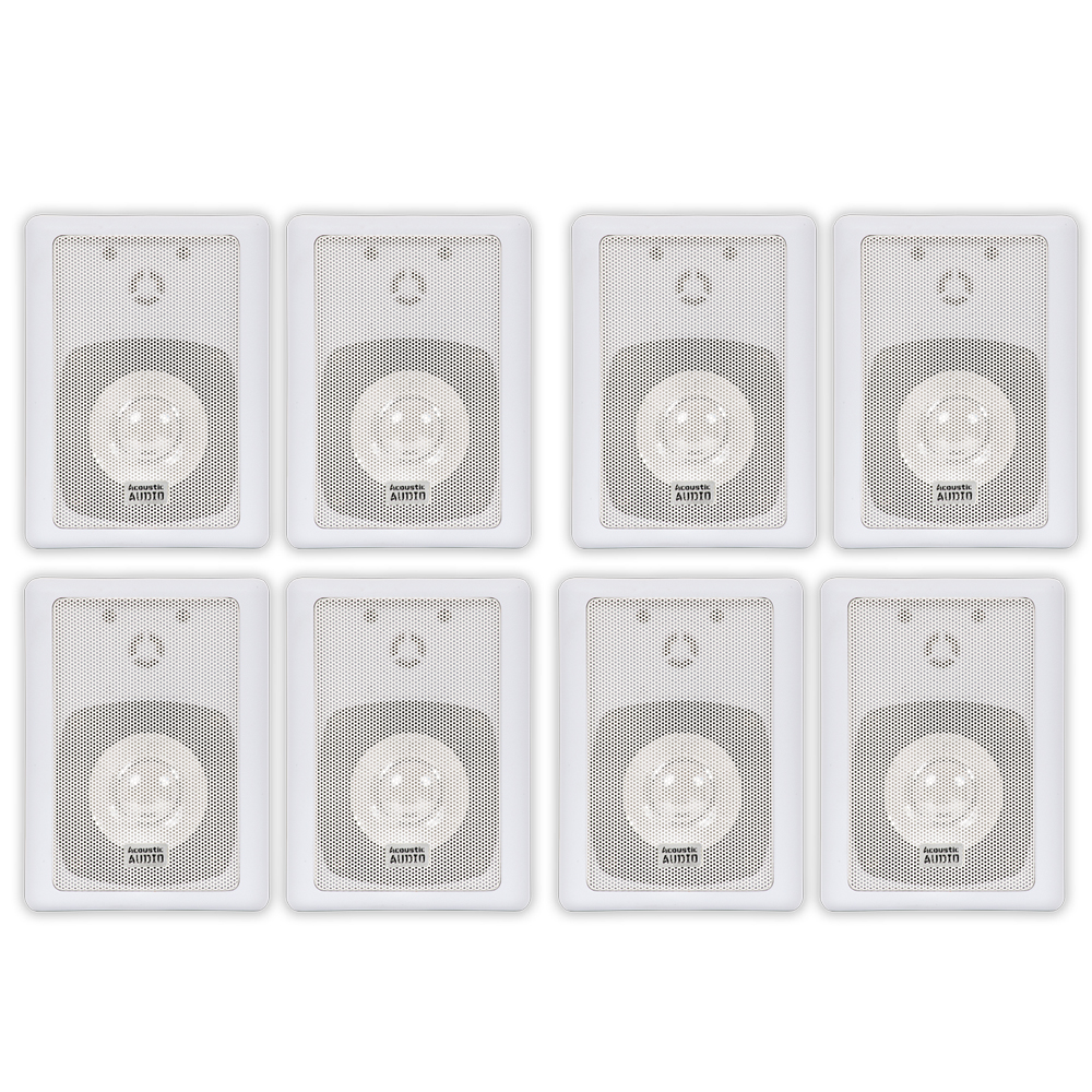 Image of Acoustic Audio 151W Indoor Outdoor 2 Way Speakers 2400 Watt White 4 Pair Pack 151W-4Pr