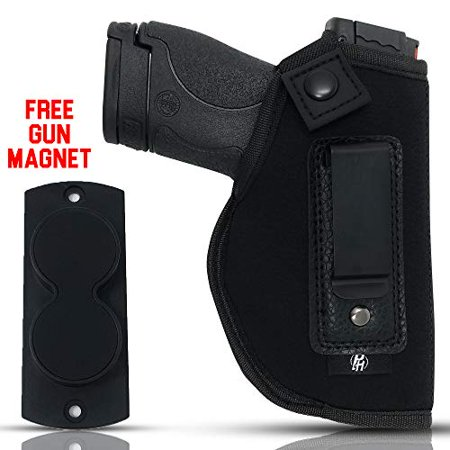 Combo IWB Gun Holster + Free Magnet - by PH | Concealed Carry | Soft Interior | Fits M&P Shield 9mm.40.45 Auto/Glock 26 27 29 30 33 42 43 / Ruger LC9, LC380 | Taurus Slim, PT111 | Springfield XD (Armed Concealed)