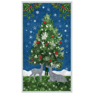 Under the Pines ~Christmas Tree Panel 23''x 44'' Cotton Fabric by Wilmington Prints