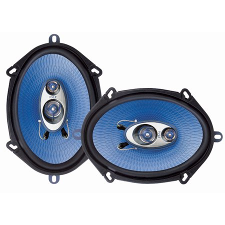 "PYLE PL573BL - 5"" x 7"" Car Sound Speaker (Pair) - Upgraded Blue Poly Injection Cone 3-Way 300 Watts w/Non-fatiguing Butyl Rubber Surround 80-20Khz Frequency Response 4 Ohm & 1"