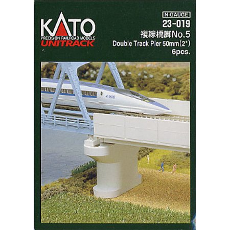 Kato N Scale UniTrack Train Track Double Track Pier Poured 2in 6-Pack