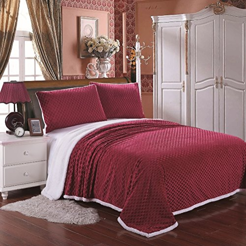 Cozy Living Ultra Soft Reversible King Blanket with Sherpa Lining - Scarlet
