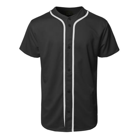 FashionOutfit Men's Solid Front Button Closure Athletic Baseball Inspired Jersey Top (Ribbed Two Button Jersey)