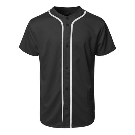Solid Stretch Jersey - FashionOutfit Men's Solid Front Button Closure Athletic Baseball Inspired Jersey Top